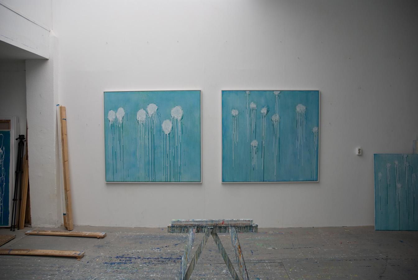 Eric Hirdes 2x 140x150 cm acryl on canvas 2016 atelier